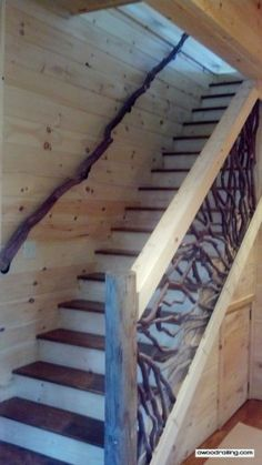 Wood Railing, THE source for Mountain Laurel Handrail. Custom crafted works of art for deck, balcony and stairs. Rustic Staircase, Wood Stairs, Basement Stairs, House Stairs, Stair Handrail, Banisters, Railing Design, Staircase Design, Le Far West