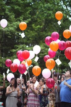 """""""30 Years, 30 Wishes"""" - I AM so doing this! Give out a balloon to all my guests and have them write a message/wish/hope/prayer to the eventual recipient. At exactly 9:37 p.m. (my birth minute), all guests will release them into the universe!"""