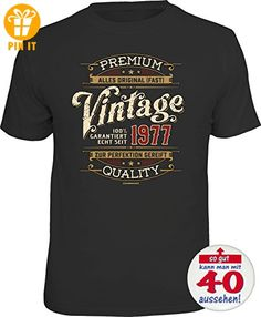 6165 Shirt S black Geburtstag Geschenke-Set: PREMIUM QUALITY VINTAGE 1977 T-Shirt Geschenk zum 40. Geburtstag + Premium Button So gut kann man mit 40 aussehen - T-Shirts mit Spruch | Lustige und coole T-Shirts | Funny T-Shirts (*Partner-Link)