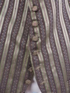 C 1800 STRIPED SILK WAIST COAT W STITCHED COVERED BUTTONS