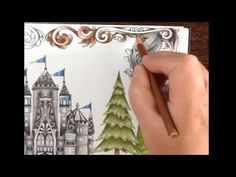 Part 8 - finishing touch - enchanted forest - frame and background -prismacolor pencils- softpastel Enchanted Forest Book, Enchanted Forest Coloring Book, Colored Pencil Tutorial, Colored Pencil Techniques, Coloring Pages To Print, Coloring Book Pages, Coloring Tips, Adult Coloring, Zentangle
