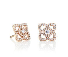 Enchanted Lotus Pink Gold / Diamond Stud Earrings by De Beers