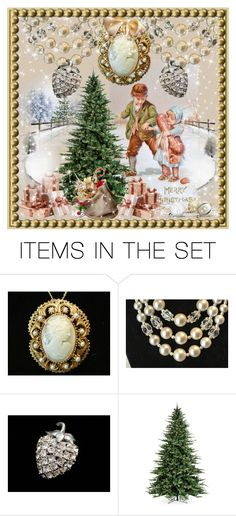 """Old Fashion Christmas Tree"" by pattysporcelainetc ❤ liked on Polyvore featuring art and vintage"