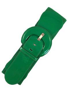 Patent Elastic Cinch Belt, Kelly Green