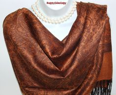 Pashmina Scarf.Brown & Black Silk by HappyIdeology on Etsy
