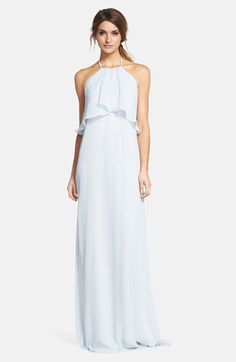 Free shipping and returns on nouvelle AMSALE Chiffon Halter Gown at Nordstrom.com. Flowing swaths of fabric overlay the cutaway bodice to enhance the ethereal look of this cloud-blue chiffon halter gown. The fluid column silhouette pools gently at the floor for a dreamy and romantic finish.