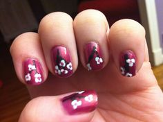 Here is my cherry blossom nail design :)