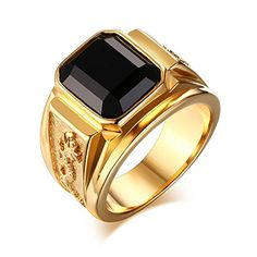 Amazon.com  Stainless Steel Gold Plated Black Rhinestone Crystal Ring for  Men Women Engagement Wedding Band  Jewelry. Aneis De Ouro MasculinoAnel ... 5daf62da6d
