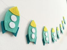 Rocket garland Spaceship Nursery decor Birthday by Artifanhas