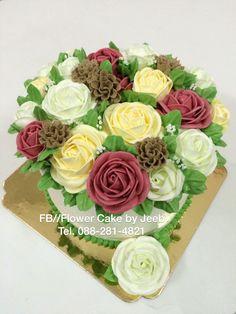 FB//Flower Cake by Jeeb Tel. Buttercream Flowers, Buttercream Cake, Spring Cake, Thailand, Korean, Cakes, Decor, Recipes, Decoration