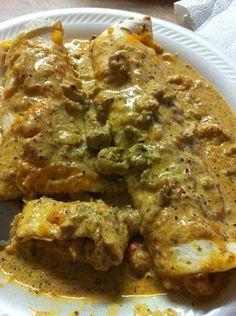 Crawfish Enchiladas  http://www.tastebook.com/recipes/1472658-PREJEAN-S-FAMOUS-CRAWFISH-ENCHILADAS