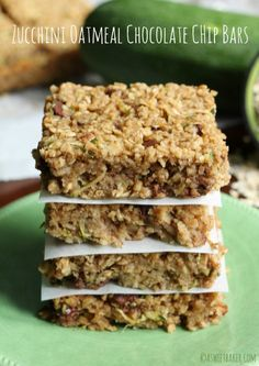 Zucchini Oatmeal Chocolate Chip Bars | A Sweet Baker
