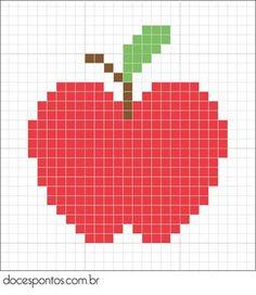 Cross Stitch Fruit, Cross Stitch Cards, Beaded Cross Stitch, Cross Stitch Alphabet, Cross Stitching, Cross Stitch Embroidery, Pixel Crochet, Crochet Quilt, Tapestry Crochet