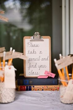 "Guests sharpened their pencils and took seats by ""class"" at this wedding hosted by two teachers."