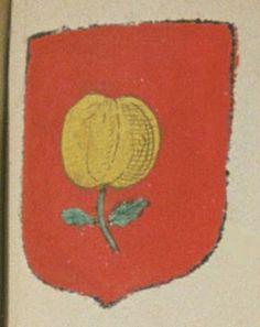 Anne PAVIN, veuve de Jacques FERUIAU / FERRUYAU, conseiller du Roy au présidial de Poitiers. Porte : de gueules, à une pêche d'or, tigée et feuillée de sinople | N° 72