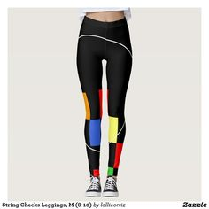 String Checks Leggings, M (8-10) Leggings