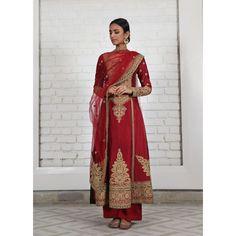 deep Red Chanderi silk princess-cut kalidar w fine tilla-dori embroidery, paired w delicate tulle dupatta & silk pants by rimple harpreet narula