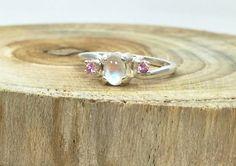Rainbow Moonstone Gemstone Ring - Unique Engagement Ring - Pink Sapphire Moonstone Ring