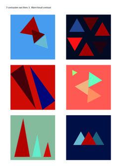 Opdracht 8 C: Een assymmetrische compositie kleur geven volgend de 7 contrasten van Itten: 3. Warm koud contrast