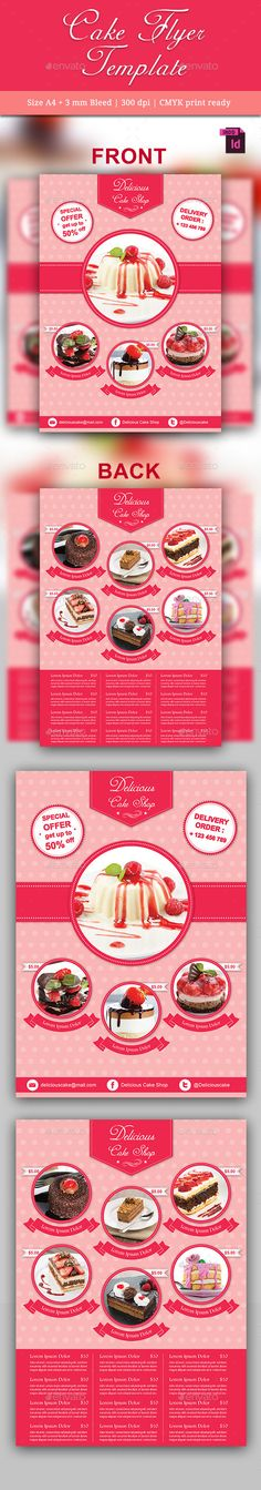#Cake #Flyer Template - #Restaurant Flyers Download here: https://graphicriver.net/item/cake-flyer-template/10237634?ref=alena994
