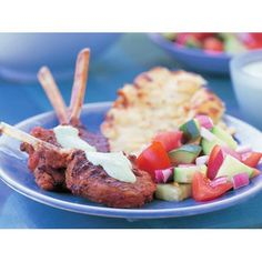 Tandoori lamb with tomato sambal and mint raita recipe - By Australian Women's Weekly, Fragrant tandoori lamb, cooked to perfect pinkness, accompanied with a fresh and healthy sambal makes an easy and complete, low carb meal.