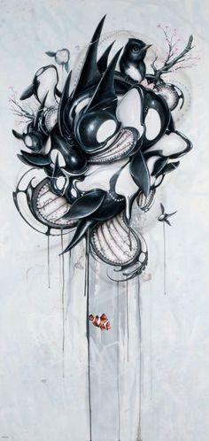 """Guardians"" - 68 x in. - Acrylic & spray paint on panel, 2011 SOLD - Greg Craola Simkins Cool Paintings, Cool Artwork, Acrylic Paintings, Amazing Artwork, Acrylic Spray Paint, Frog Art, Ap Studio Art, Rabbit Art, Wine Art"