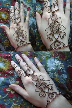 Bronze Wire Wrapped Henna Slave Bracelet 2 by RachaelsWireGarden.deviantart.com on @deviantART