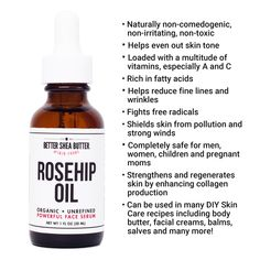 Rosehip Oil is a powerful oil, safe for all skin types. Its properties help to restore natural skin tone, diminish dark spots, scars, fine lines & wrinkles. Best Oil For Skin, Oils For Skin, Organic Rosehip Oil, Rosehip Seed Oil, Organic Skin Care, Natural Skin Care, Rosehip Oil Benefits, Even Out Skin Tone, Beauty Regimen