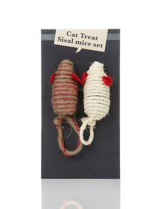 Cat treat sisal mice set