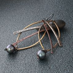 Mixed Metal Earrings with Sterling Copper Brass and by MetalLuxe