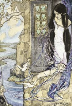 An illustration for Tennyson by Golden Age illustrator Florence Harrison (1878-1955).