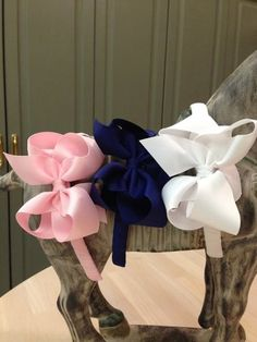 """1/2"""" Grosgrain Headband with 4"""" Bow Size 3T-8 Price: $8.00, Free Shipping Options: Soft Pink (qty 2), Navy Blue (qty 2), White (qty 2)"""