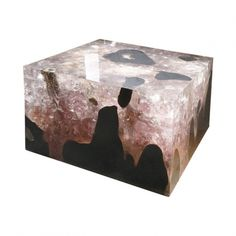 Teak & cracked resin coffee table -Andrianna Shamaris