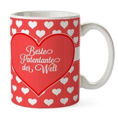 Tasse Herz Geschenk Beste Patentante der Welt aus Keramik  Weiß - Das Original von Mr. & Mrs. Panda.  Eine wunderschöne Keramiktasse aus dem Hause Mr. & Mrs. Panda, liebevoll verziert mit handentworfenen Sprüchen, Motiven und Zeichnungen. Unsere Tassen sind immer ein besonders liebevolles und einzigartiges Geschenk. Jede Tasse wird von Mrs. Panda entworfen und in liebevoller Arbeit in unserer Manufaktur in Norddeutschland gefertigt.    Über unser Motiv Herz Geschenk  Das Motiv Herz Geschenk…