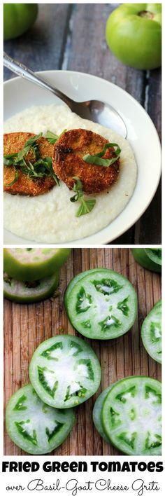 Two southern delicacies combine to make one awesome summer meal in this bowl of fried green tomatoes with goat cheese basil grits.