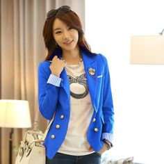 "@cs.ordersis's photo: ""Blazer : JY72481 BLUE ""Original : china Material : Cotton Bust : 88cm - Open Sleeve : 64cm Length : 55cm With Shoulder Pad 450grams"" Rp180,000  #blazer #ordersis"""