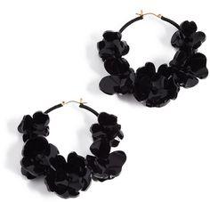 Oscar de la Renta Flower Garden Hoop Earrings (591 AUD) ❤ liked on Polyvore featuring jewelry, earrings, black, flower earrings, oscar de la renta, oscar de la renta jewelry, hinged hoop earrings and flower jewelry