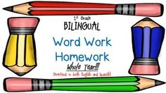 BILINGUAL - Save some money and buy the whole bundle of all four packets!  This bundle has 24 weeks of word work homework.  Each week is comprised of two different word families or rimes.  I send it home as part of my weekly homework packet, along with my sight word homework, reading logs, and math homeworkbut you can also use this packet as daily practice in the classroom as well.This packet is the bilingual packet, so the directions for each day are written in both English and Spanish.