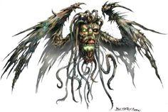 Vargouille 1  Testa immonda, ali da pipistrello, tentacoli penzolonti