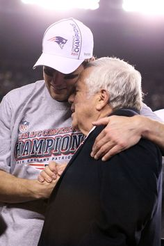 Tom Brady hugs Patriots team owner, Robert Kraft, after winning the AFC Championship Game - Gillette Stadium, Sunday, Jan. 22, 2012, Foxboro, Mass.