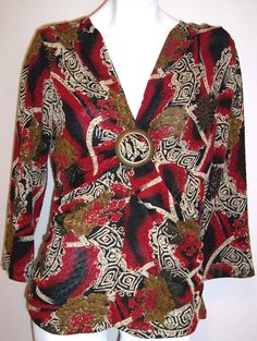 JTB Top L Textured Floral Stretch Knit O-Ring Pullover Artsy Shirt Blouse Large #JTB #KnitTop #Casual