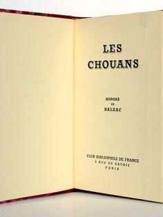 Les Chouans. Balzac. Club bibliophile de France 1954. Page titre.