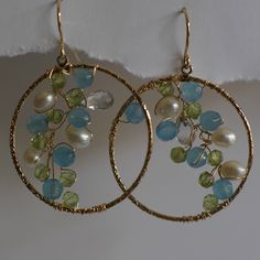 Gold Earrings, Pearl, Topaz and Peridot Earrings, Wedding Earrings