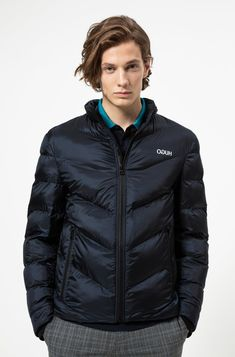 HUGO - Regular-fit down jacket with recycled filling Light Hair, Models, Model Agency, Mma, Dark Blue, Winter Jackets, Fitness, Casual, Hamburg