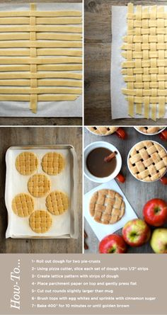 Lattice cookie tops to make your apple cider look like a yummy pie :) Apple Cider Cookies, Pie Crust Cookies, Cookie Dough, Cookie Recipes, Dessert Recipes, Dessert Aux Fruits, I Love Food, Just Desserts, Fall Recipes