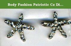 Inspiration look Day to night : Body Fashion Patriotic Cz Diamond Starfish Shaped Unisex Stud Earrings (White).