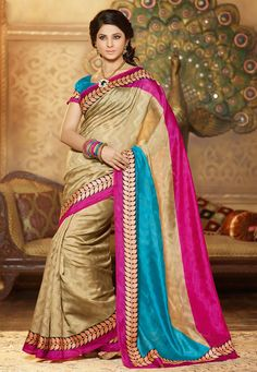 A Beige Color Bhagalpuri Silk Designer Saree with a stunning leaf printed and a contrasting border