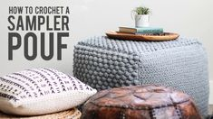 diy furniture Learn some new stitches while crocheting your own oversized pouf ottoman. This free crochet bean bag pattern is comprised of six simple squares and stuffed with inexpensive household items to create a high-end looking piece of DIY furniture. Diy Furniture Videos, Diy Furniture Table, Diy Furniture Plans, Couch Furniture, Crochet Furniture, Furniture Stores, Pallet Furniture, Furniture Buyers, Furniture Dolly