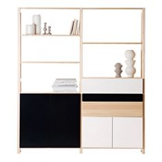 This shelf unit by Lundia is a fresh combination of parts in lacquered Finnish pine wood with white lacquered and black drawers and doors. The shelf frame is made of durable and lacquered natural pine. Pine Shelves, Black Shelves, Bookcase Shelves, Storage Shelves, Shelving, Storage Ideas, Black Drawers, Buffet, Scandinavian Living