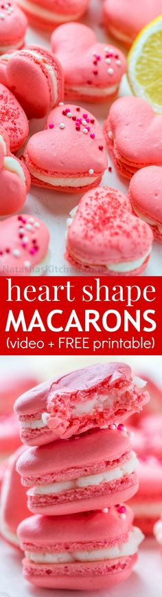 lemon buttercream Heart Macarons are easier than you think! Heart-shaped macarons with tangy-sweet lemon buttercream. Easy Desserts, Delicious Desserts, Dessert Recipes, Yummy Food, Best Cookie Recipes, Holiday Recipes, Baking Recipes, Printable Heart Template, Free Printable